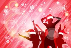 Christmas New Year Party Dancing Girl Poster. People Silhouettes Wear Red Santa Hat Dance Banner Vector illustration Royalty Free Stock Photo