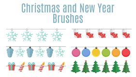Christmas and New Year Party Flags, Buntings,  Brushes for Creat Stock Image