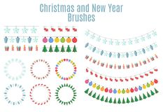 Christmas and New Year Party Flags, Buntings,  Brushes for Creat Royalty Free Stock Image