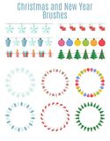 Christmas and New Year Party Flags, Buntings,  Brushes for Creat Stock Images