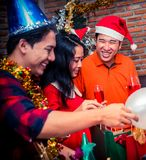 Christmas and new year party. With friends Stock Photo
