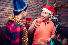 Christmas and New year party with friends. Drink and drunk red wine Stock Images