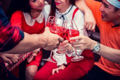 Christmas and New year party. With friends. Fun and drunk with red wine Stock Photos