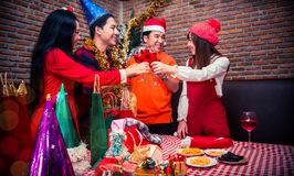 Christmas and New year party. With friends. Fun and drunk with red wine Stock Images