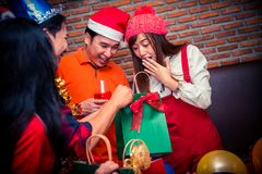 Christmas and New year party. With friends. Happy with gift and present Royalty Free Stock Photo