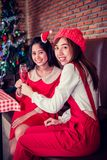 Christmas and New Year party. With friends and red wine Stock Image
