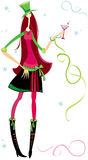 Christmas, New Year Party Girl. With drink vector illustration