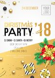 Christmas, New Year 2018 party invitation poster design for winter holiday celebration. Vector 24 December night party banner of g. Olden present gift vector illustration