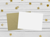 Free Christmas, New Year Party Mockup Scene With Golden Star Shape Glittering Confetti, Blank Paper And Envelope. White Stock Photo - 81465880