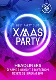 Christmas New year party poster banner template. Holiday celebration card design. Xmas flyer party template.  stock illustration