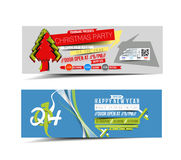 Christmas & New Year Party Web Banner Royalty Free Stock Photo
