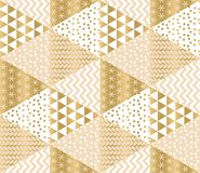 Christmas and new year patchwork decorative repeatable motif. Xmas elegant geometric snowflakes seamless pattern for background,. Wrapping paper stock illustration