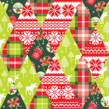 Christmas and New Year patchwork seamless background. Stock Photo
