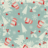 Christmas and New Year pattern with mittens and Christmas trees. Winter holiday. Vector illustration Royalty Free Stock Image