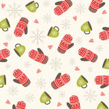 Christmas and New Year pattern  with mittens. Winter holiday. Stock Photography