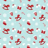 Christmas and New Year pattern with red horses, mittens and snowflakes. Christmas pattern with red horses, mittens and snowflakes. Raster copy royalty free illustration
