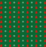 Christmas and new year pattern with snowflakes and bells on gree Stock Images