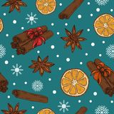 Christmas / New Year pattern with spices and oranges vector illustration