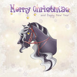 Christmas and the new year with a picture of a horse Stock Photos