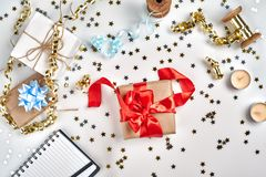 Christmas or New Year planning background in Gold Tones. Prepare to winter holidays. Top view, flat lay. royalty free stock images