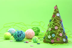 Christmas new year post card tree yarn concept Stock Images