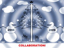 Christmas or New Year Postcard stock photo