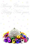 Christmas and new year postcard with balls. Holiday postcard with colorful bright toys in the form of balls, written wish happy New year and merry Christmas Stock Photography