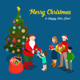 Christmas New Year postcard Santa family flat isometric vector Stock Image