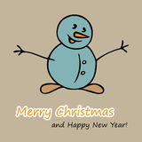 Christmas and New Year postcard with a Snowman Royalty Free Stock Photos