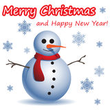 Christmas and New Year postcard with a Snowman Stock Images