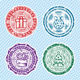 Christmas and New Year postcard stamps. Four Christmas and New Year postcard stamps Royalty Free Stock Photography