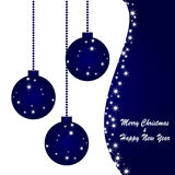 Christmas and new year postcard. Vector blue postcard for christmas and new year Royalty Free Stock Image
