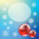 Christmas and New Year, poster design with Christmas balls. And snowflakes on a colored background royalty free illustration