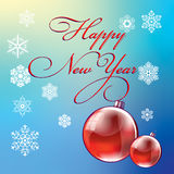 Christmas and New Year, poster design with Christmas balls Stock Photography