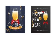 Christmas and New Year poster with a glass of champagne. Royalty Free Stock Photo