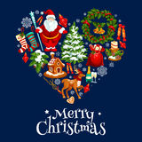 Christmas and New Year poster in shape of a heart Royalty Free Stock Photography