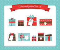 Christmas and new year present box set Stock Photography