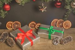 Christmas, New Year presents under the tree with free space for text. Close up Royalty Free Stock Images