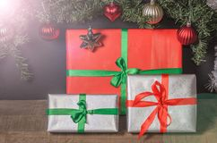 Christmas, New Year presents under the tree with free space for text. Close up Royalty Free Stock Photography