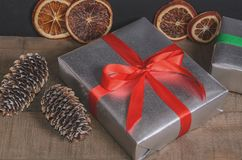 Christmas, New Year presents under the tree with free space for text. Close up Royalty Free Stock Photos