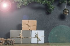 Christmas, New Year presents under the tree with free space for text. Close up Stock Photography