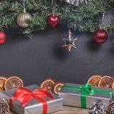 Christmas, New Year presents under the tree with free space for text. Close up Royalty Free Stock Image