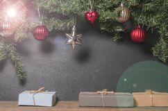 Christmas, New Year presents under the tree with free space for text. Close up Stock Image