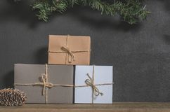 Christmas, New Year presents under the tree with free space for text. Close up Royalty Free Stock Photo