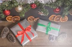 Christmas, New Year presents under the tree with free space for text. Close up Stock Photo