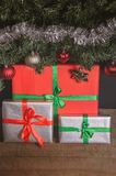 Christmas, New Year presents under the tree with free space for text. Close up Stock Photos