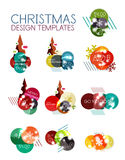 Christmas or New Year promo labels and stickers. Circle geometric diagrams with sample text Stock Photo