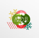 Christmas or New Year promo labels and stickers. Circle geometric diagrams with sample text Stock Images