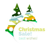 Christmas and New Year promotion banner design. Geometric design winter elements with copyspace Stock Photo