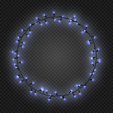 Christmas and New year realistic light garlands like frame on a transparent background, vector. Christmas and New year realistic blue light garlands like frame Stock Images